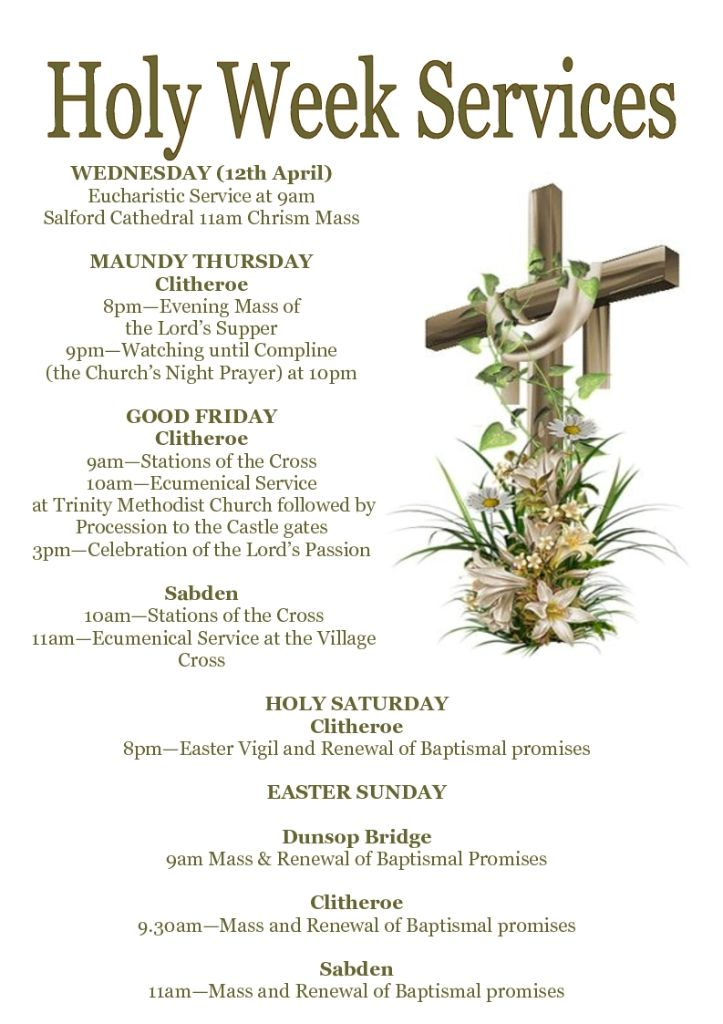 HOLY WEEK SERVICES 2017
